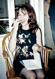 Michele Wolf at her book-launch party for Conversations During Sleep, New York City, May 20, 1998